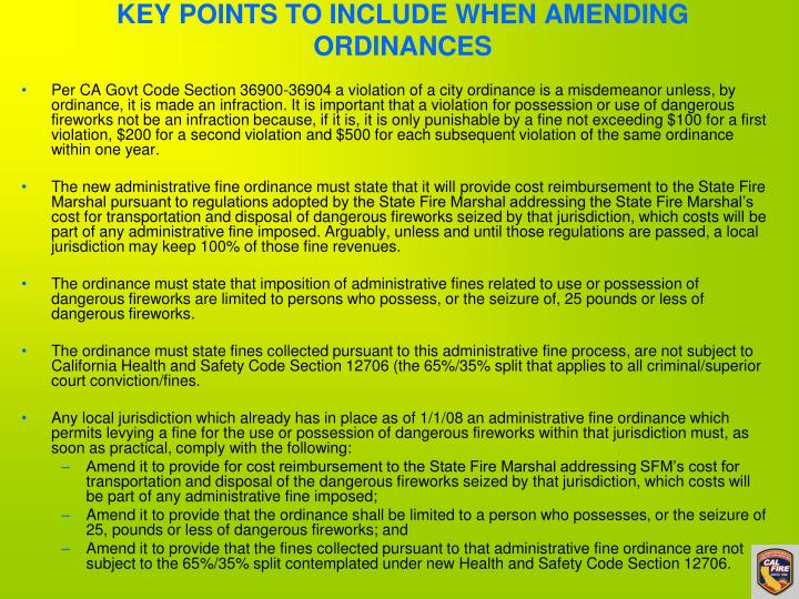 KEY POINTS TO INCLUDE WHEN AMENDING ORDINANCES