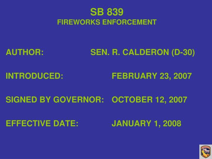 Sb 839 fireworks enforcement