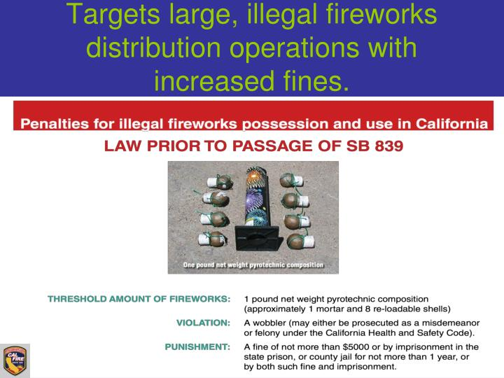 Targets large, illegal fireworks distribution operations with increased fines.