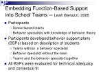 embedding function based support into school teams leah benazzi 2005