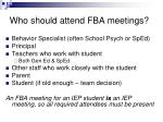 who should attend fba meetings
