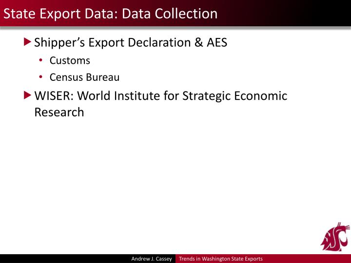 State Export Data: Data Collection