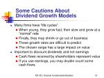 some cautions about dividend growth models