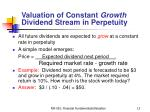 valuation of constant growth dividend stream in perpetuity