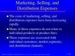 marketing selling and distribution expenses