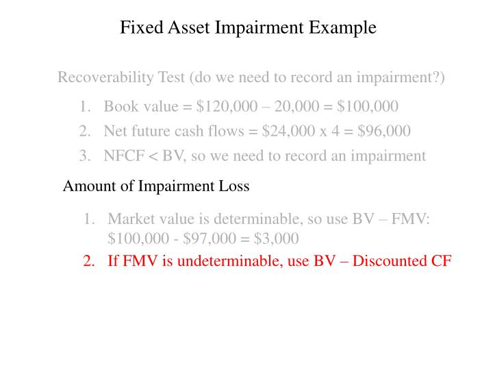 Fixed Asset Impairment Example