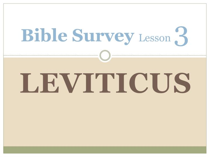 Bible survey lesson 3