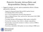 protective security advisor roles and responsibilities during a disaster