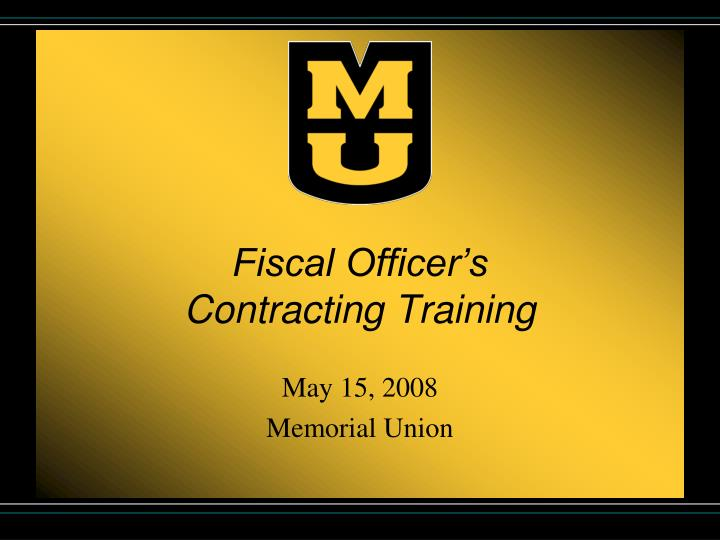 fiscal officer s contracting training n.