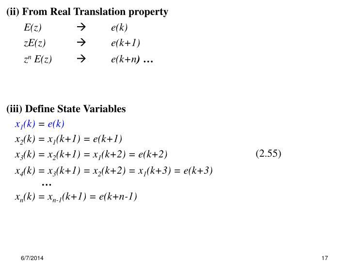 (iii) Define State Variables