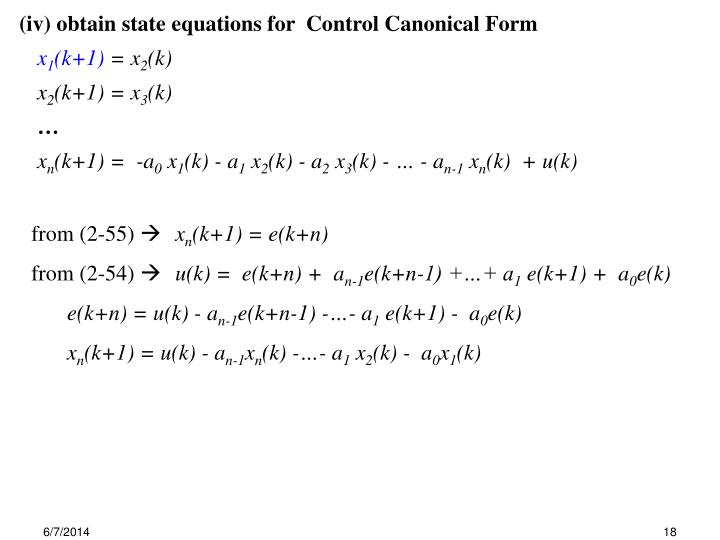 (iv) obtain state equations for  Control Canonical Form