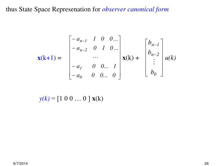 thus State Space Represenation for