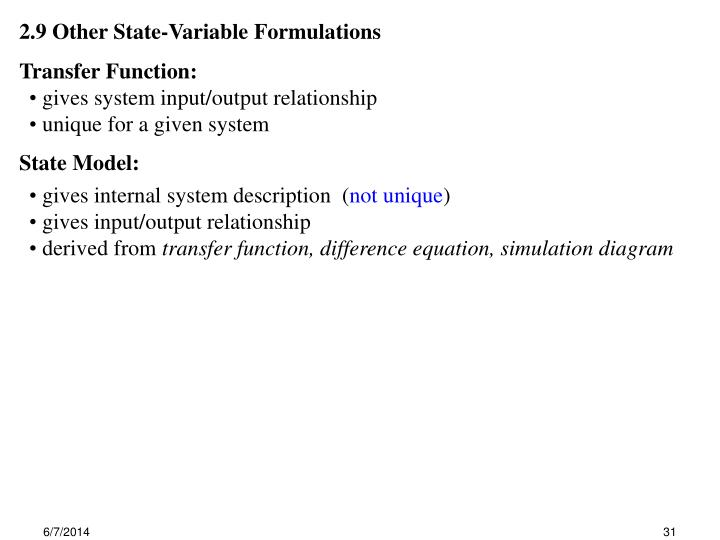 2.9 Other State-Variable Formulations