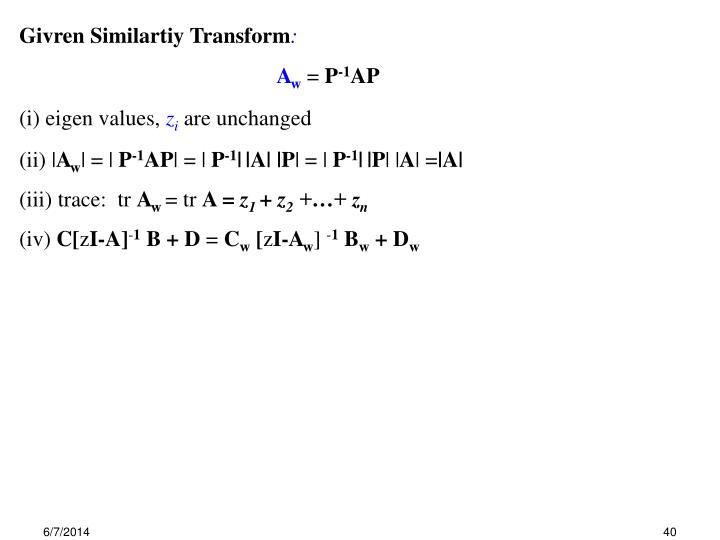 Givren Similartiy Transform