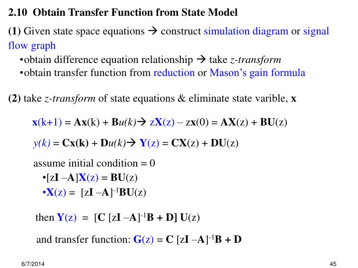 2.10  Obtain Transfer Function from State Model