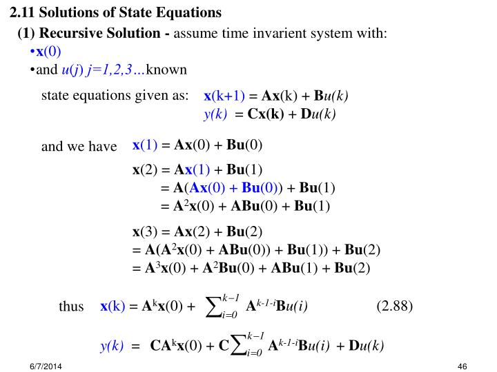 2.11 Solutions of State Equations