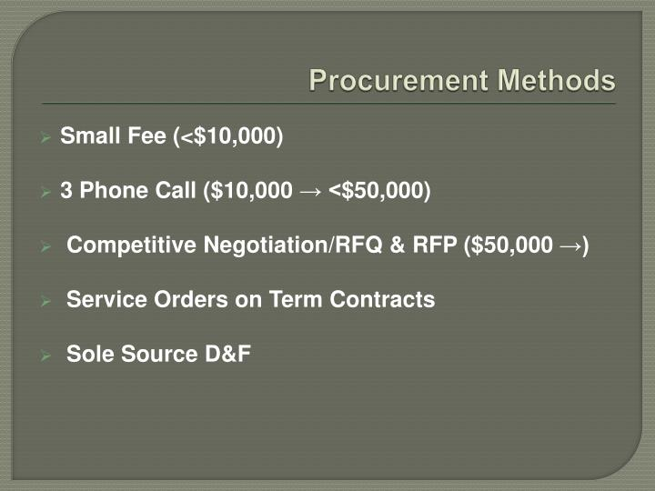 Procurement methods