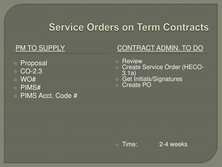 Service Orders on Term Contracts