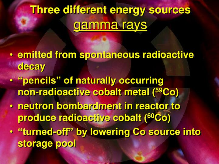 Three different energy sources
