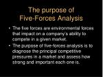 the purpose of five forces analysis