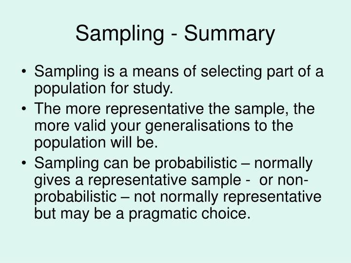 Sampling - Summary
