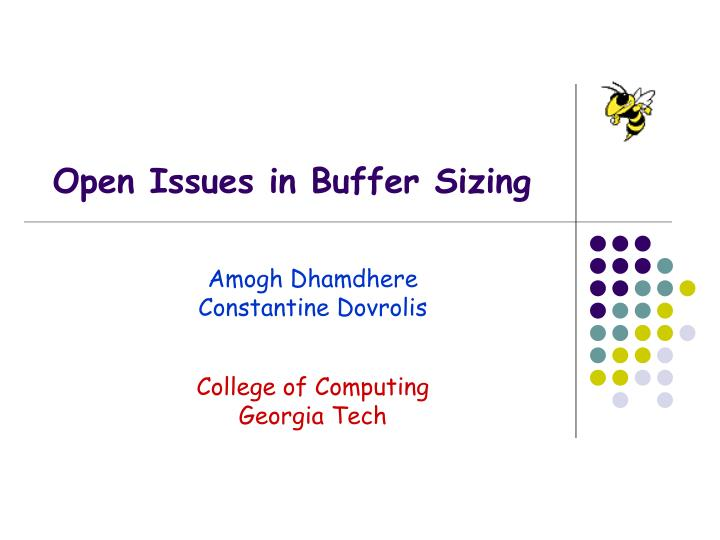 open issues in buffer sizing n.