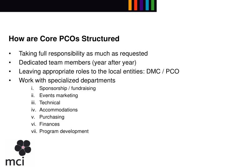 How are Core PCOs Structured
