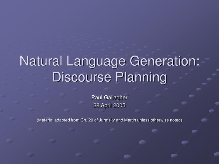 natural language generation discourse planning