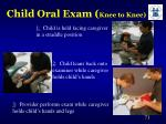 child oral exam knee to knee