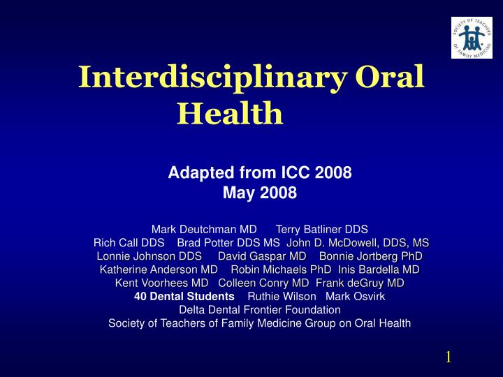 interdisciplinary oral health n.