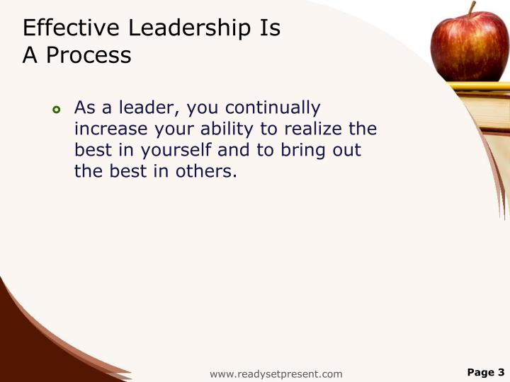 Effective leadership is a process