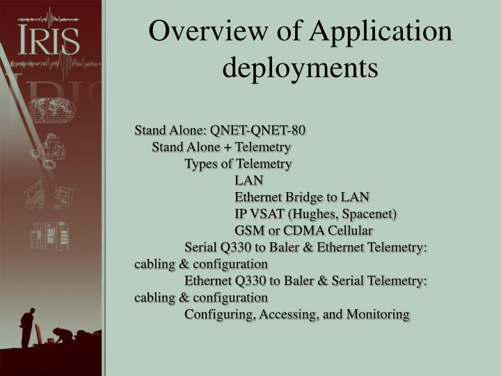 Overview of Application deployments