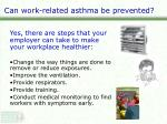 can work related asthma be prevented