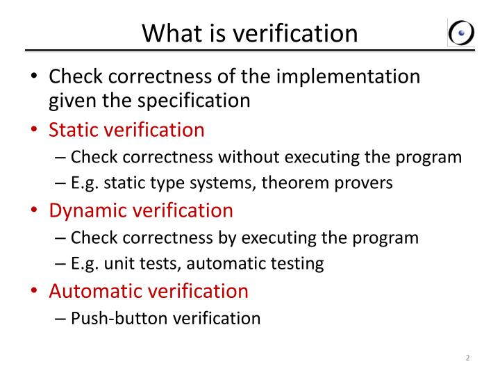 What is verification