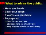 what to advise the public