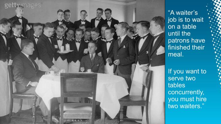 """""""A waiter's job is to wait on a table until the patrons have finished their meal."""