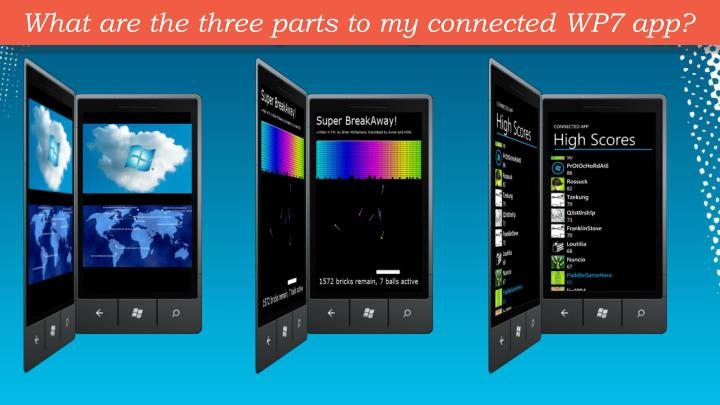 What are the three parts to my connected WP7 app?