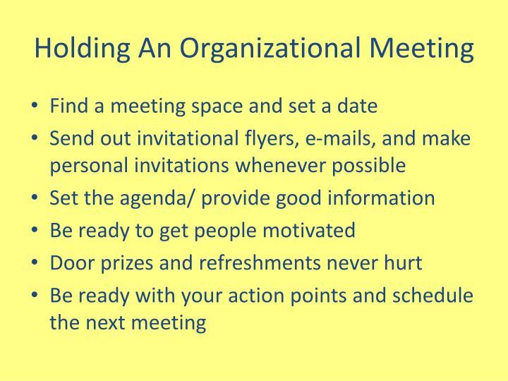 Holding An Organizational Meeting