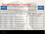 sample security checklist