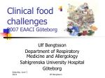 clinical food challenges 2007 eaaci g teborg