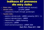 indikace at prevence dle m ry rizika