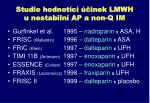 studie hodnot c inek lmwh u nestabiln ap a non q im