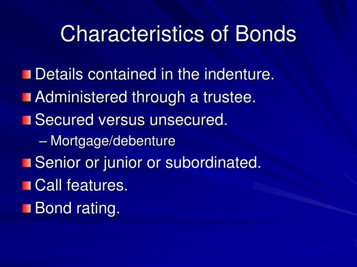 Characteristics of Bonds