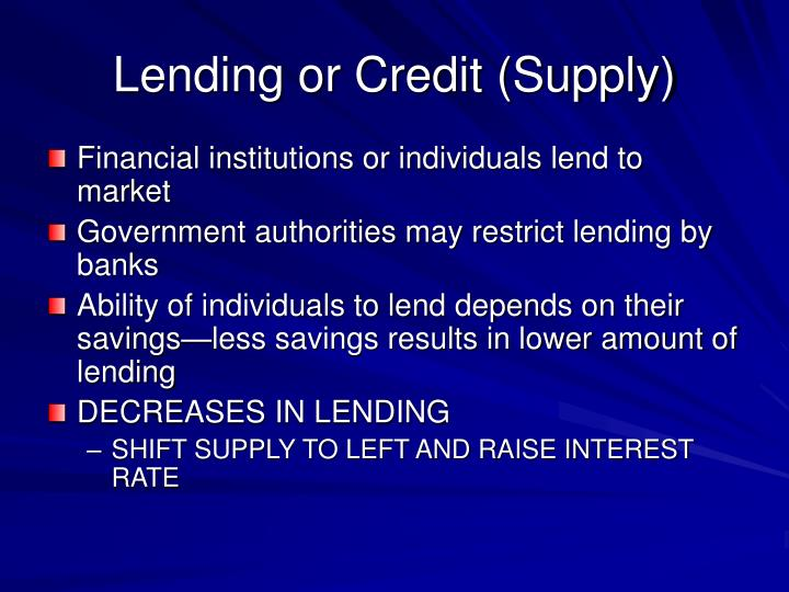 Lending or Credit (Supply)