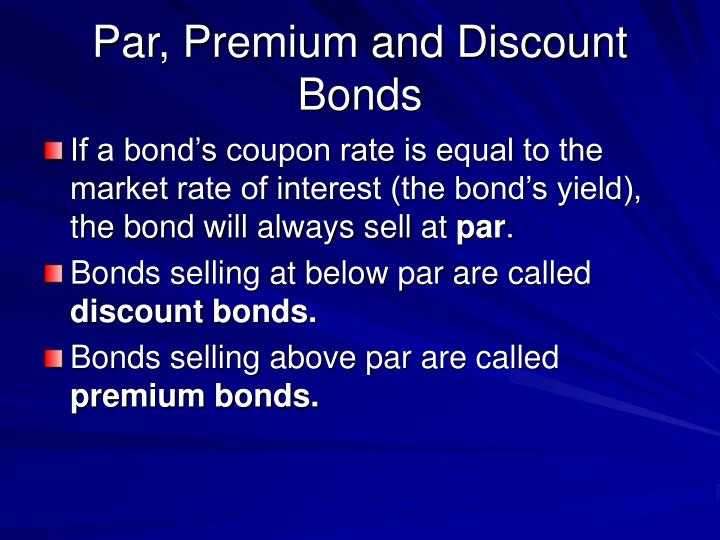 Par, Premium and Discount Bonds
