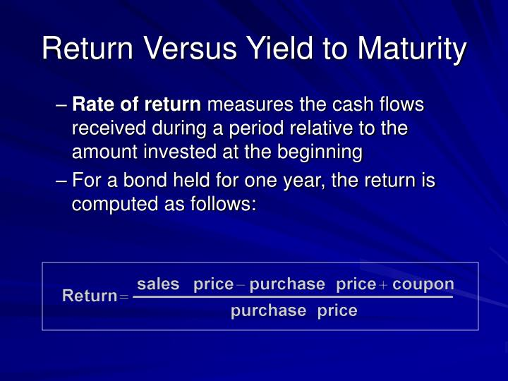 Return Versus Yield to Maturity