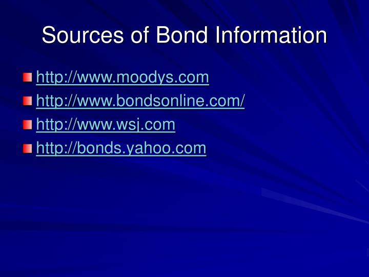 Sources of Bond Information