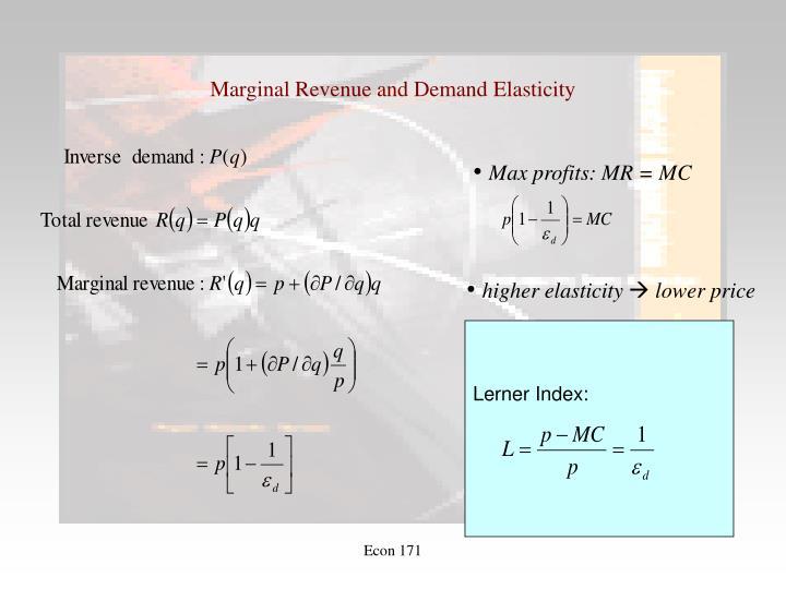 Marginal Revenue and Demand Elasticity