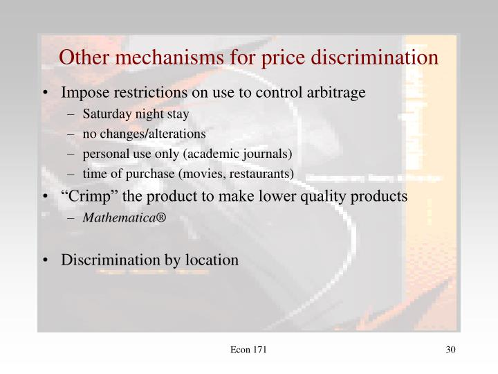 Other mechanisms for price discrimination