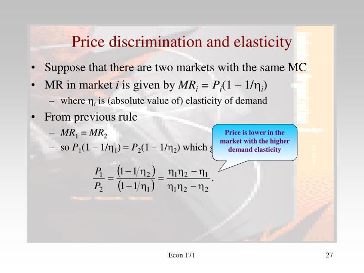 Price discrimination and elasticity